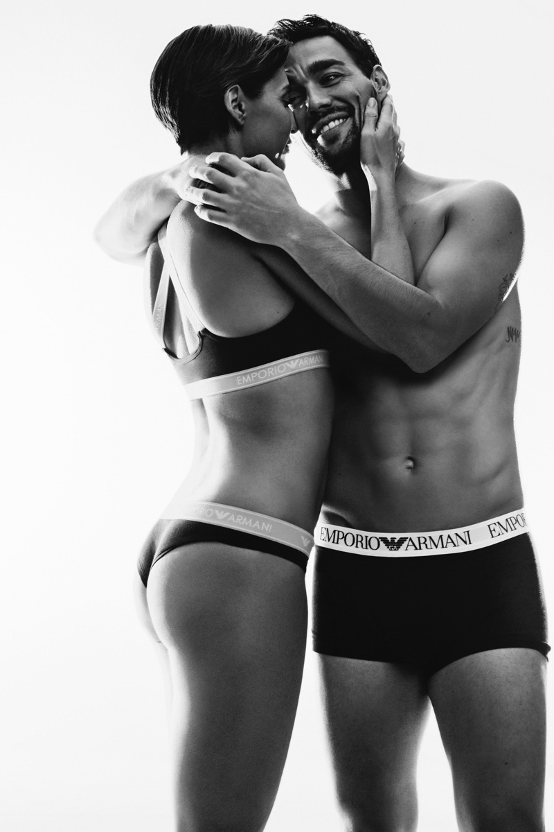 Serge Guerand photographs Fabio Fognini and his wife Flavia Pennetta for Emporio Armani's underwear campaign.