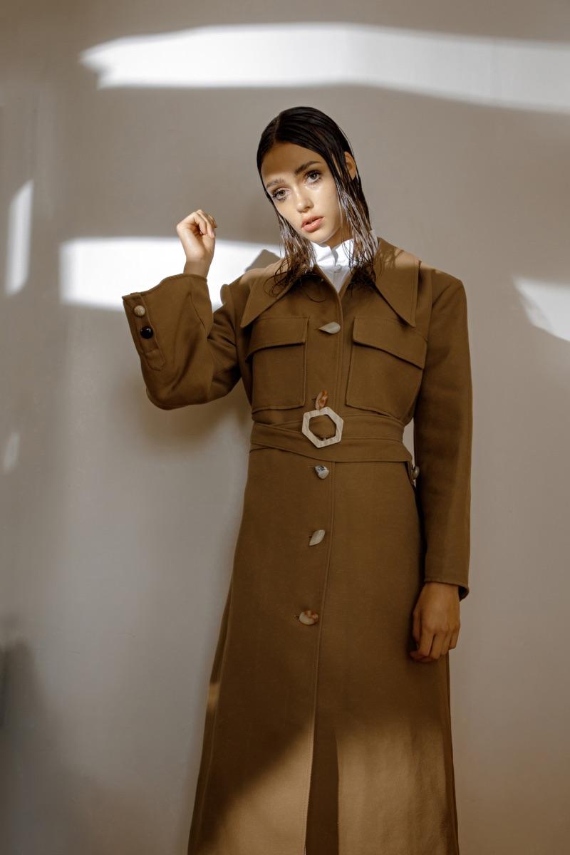 Esme wears coat Gayeon Lee and dress Boo Pala.