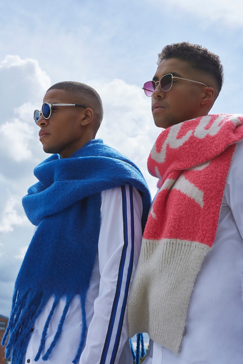 Left to Right: Vincent wears shirt Eterna, sunglasses Kerbholz, and scarf Codello. Isak wears shirt Eterna, sunglasses Komono, and scarf Codello.