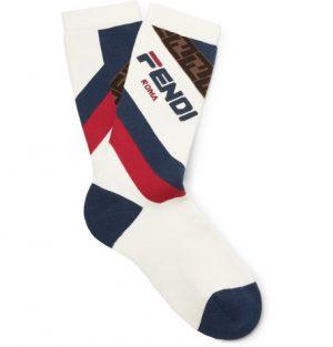 Fendi - Logo-Intarsia Stretch Cotton-Blend Socks - White