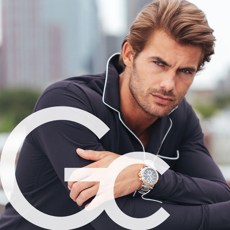 British model Jacey Elthalion fronts GC Watches' fall-winter 2018 campaign.