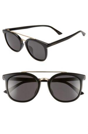 Gucci 52Mm Round Sunglasses - Black/ Grey