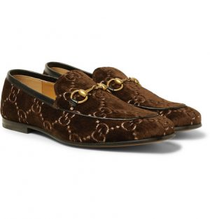 Gucci - Horsebit Leather-Trimmed Logo-Embroidered Velvet Loafers - Dark brown