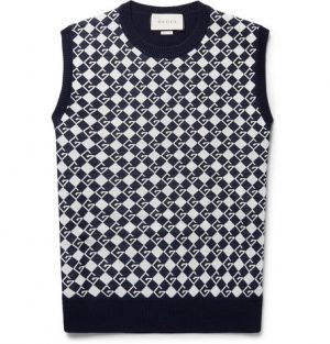 Gucci - Logo-Jacquard Wool Sweater Vest - Midnight blue
