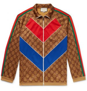 Gucci - Oversized Webbing-Trimmed Logo-Print Tech-Jersey Track Jacket - Brown