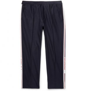 Gucci - Slim-Fit Cropped Webbing-Trimmed Cotton-Piqué Drawstring Trousers - Navy