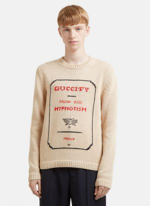Guccify Hypnotism Invitation Cotton Knit Sweater