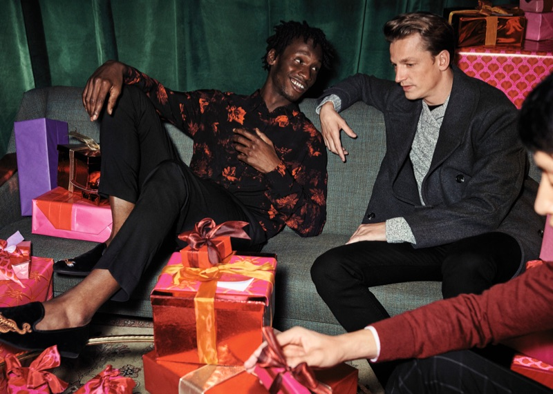 Models Adonis Bosso and Hugo Sauzay appear in H&M's holiday 2018 campaign.