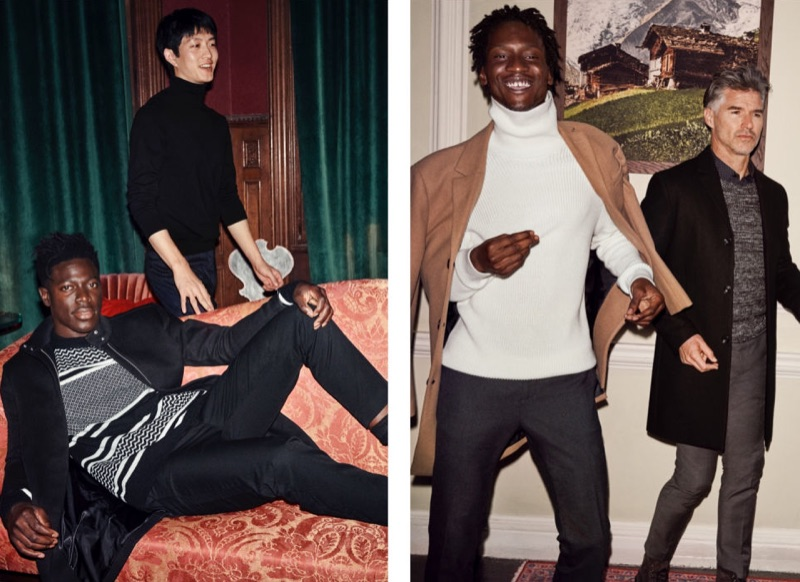 Providing endless layering options, H&M offers a patterned knit sweater, knit turtleneck sweater, rib-knit turtleneck sweater, and textured-knit sweater.