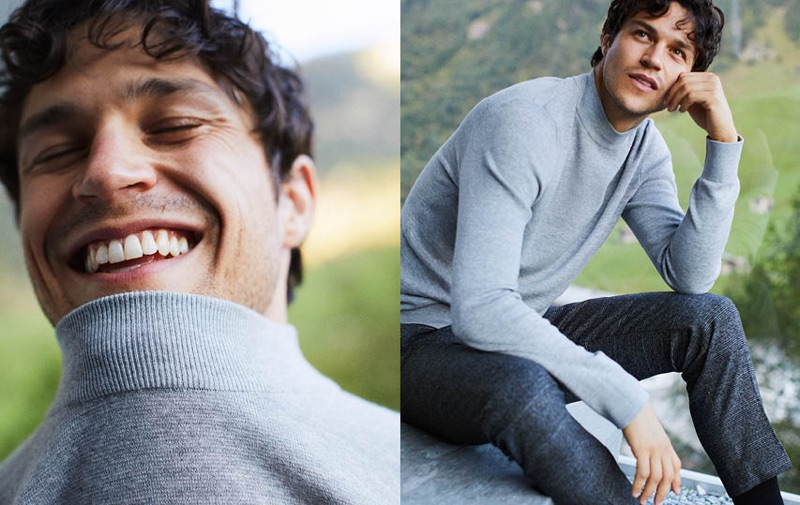 Miles McMillan sports a mock turtleneck sweater from H&M.