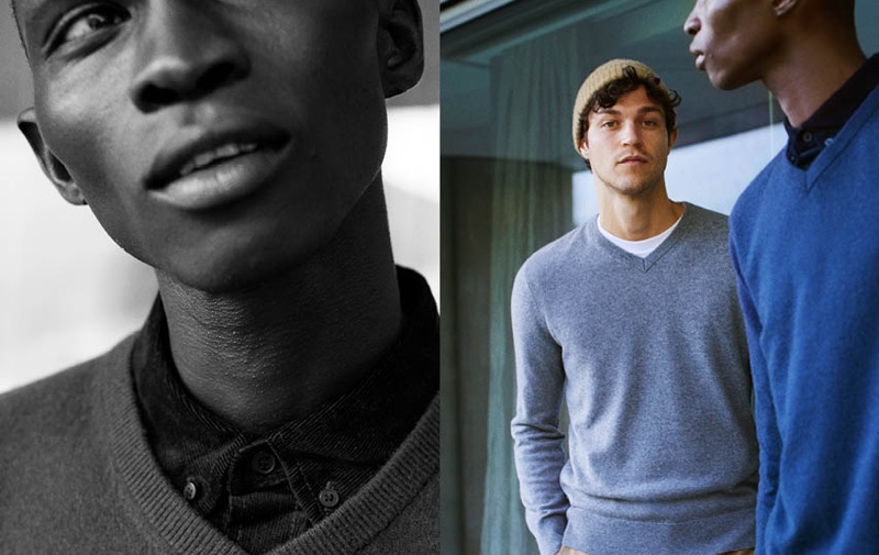 Fernando Cabral and Miles McMillan sports v-neck cashmere sweaters from H&M.