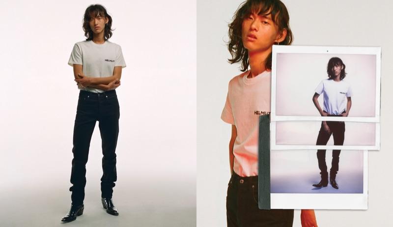 Sporting a t-shirt and jeans, David Yang rocks Helmut Lang.