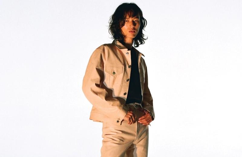 Embracing monochromatic style, David Yang models Helmut Lang.