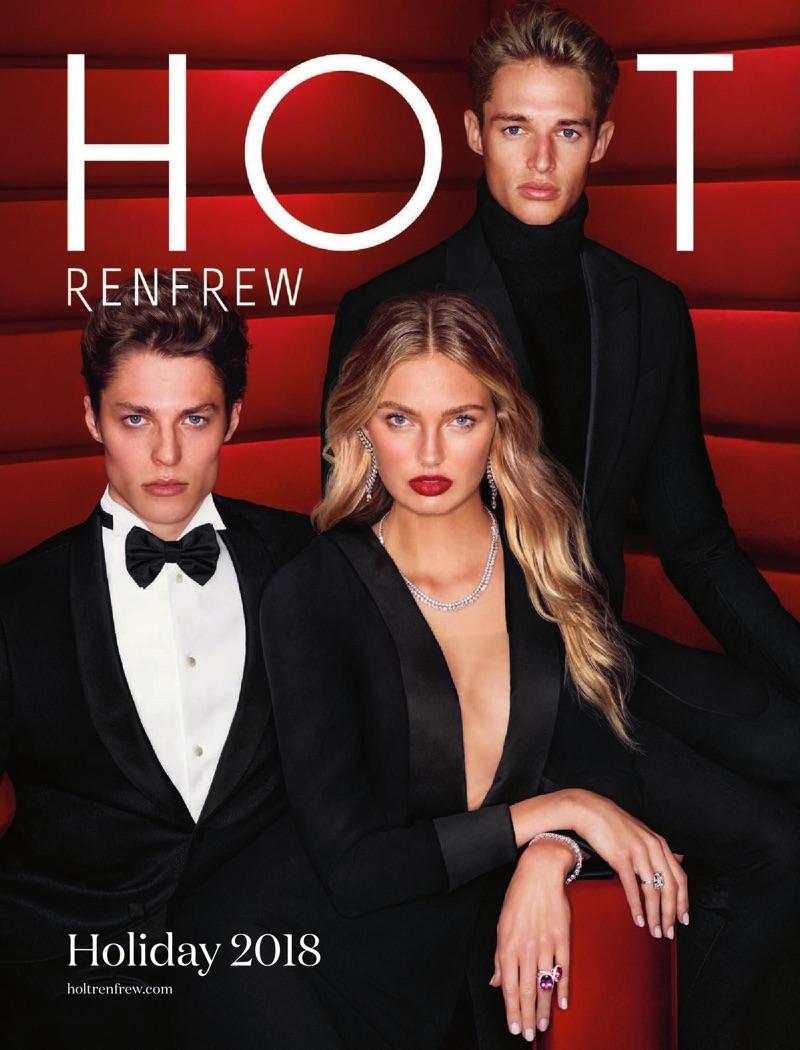 Models Brodie Scott, Romee Strijd, and Morten Nielsen cover Holt Renfrew's holiday 2018 catalog.