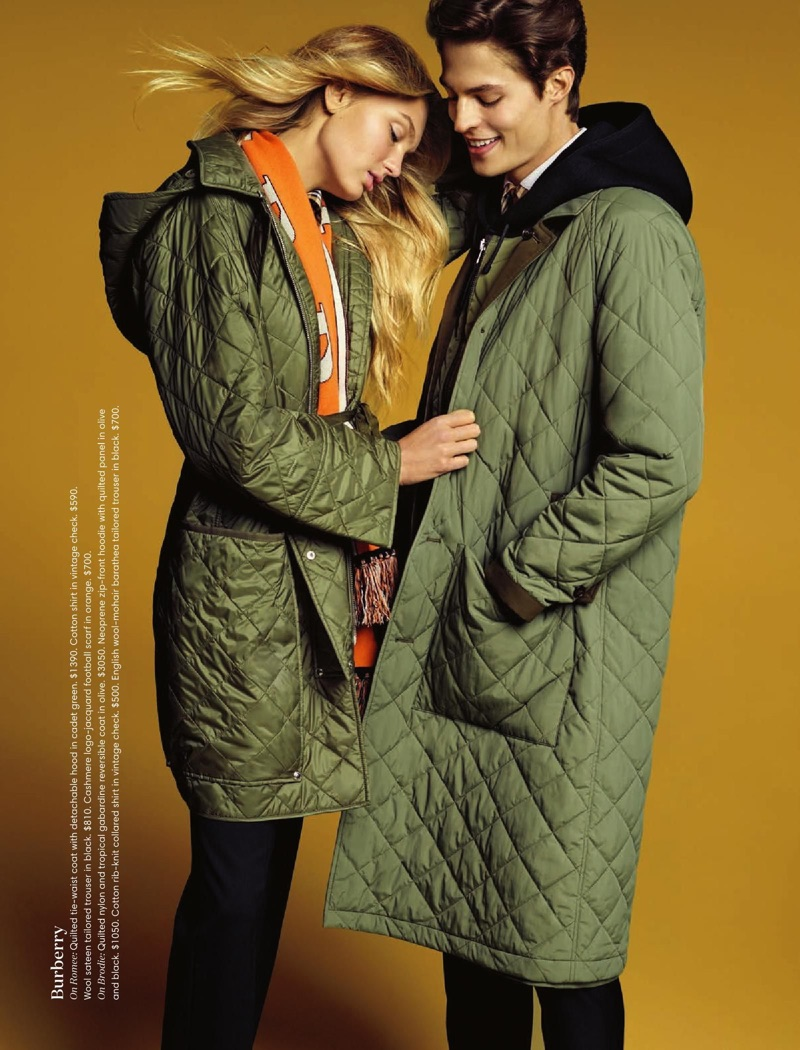 Romee Strijd and Brodie Scott wear quilted coats by Burberry.