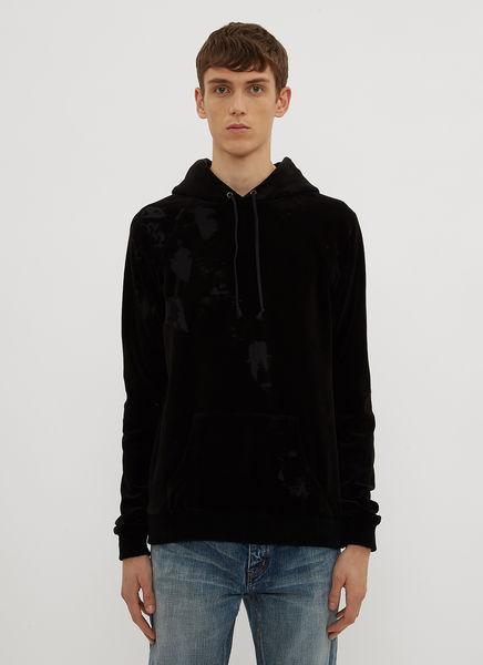 Hooded Burnt Out Velvet Sweater