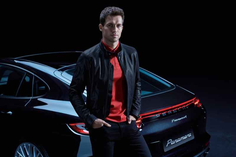 Andrew Cooper wears a look from the upcoming Porsche x BOSS capsule collection.