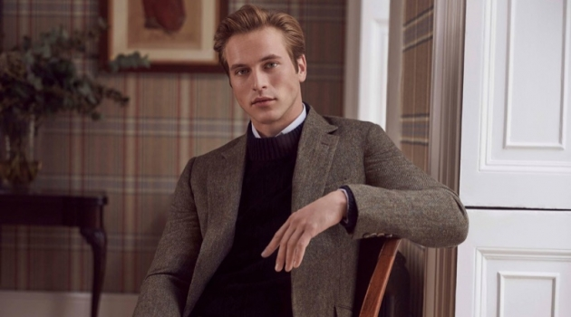 Jules Raynal stars in Huntsman's fall-winter 2018 campaign.