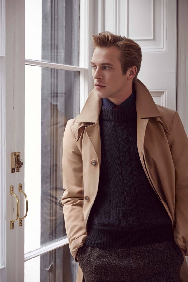Modeling a trench, Jules Raynal fronts Huntsman's fall-winter 2018 campaign.
