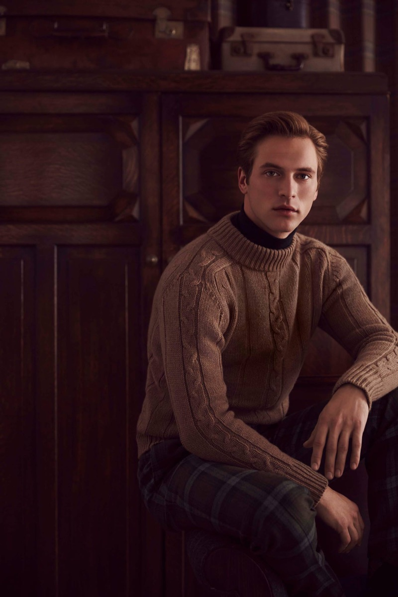 French model Jules Raynal stars in Huntsman's fall-winter 2018 campaign.
