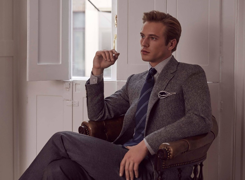 Donning fine tailoring, Jules Raynal appears in Huntsman's fall-winter 2018 campaign.