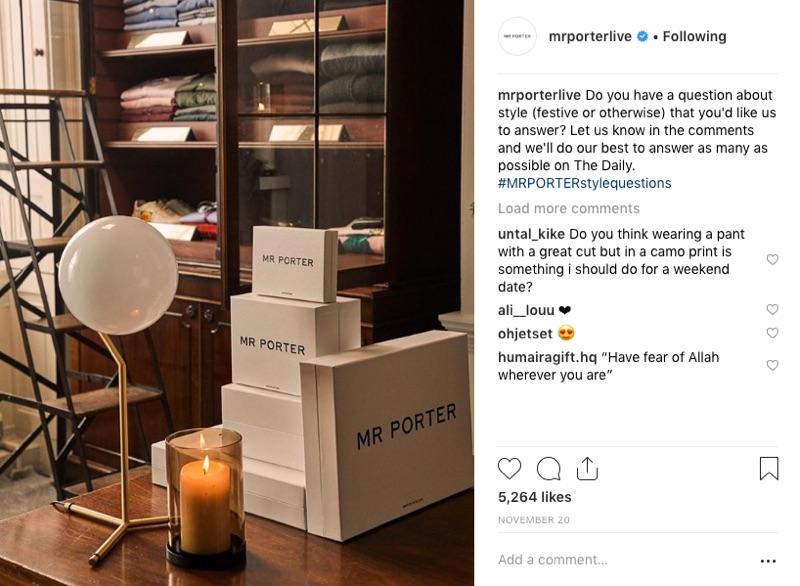 Men's luxury retailer Mr Porter communicates with its customers on Instagram.