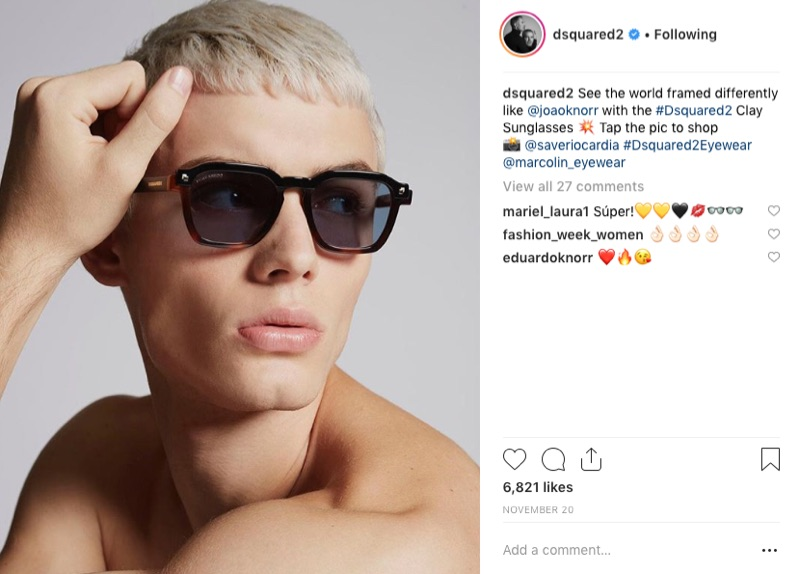 Fashion brand Dsquared2 takes to Instagram to showcase a pair of its contemporary sunglasses.