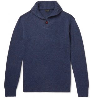J.Crew - Shawl-Collar Donegal Merino Wool-Blend Sweater - Navy
