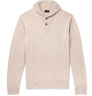 J.Crew - Shawl-Collar Mélange Merino Wool-Blend Sweater - Cream