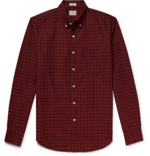 J.Crew - Slim-Fit Button-Down Collar Checked Pima Cotton Oxford Shirt - Red