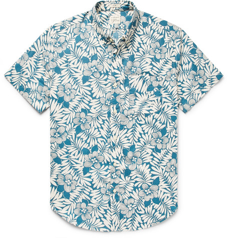 J.Crew - Slim-Fit Button-Down Collar Floral-Print Slub Cotton Shirt - Blue