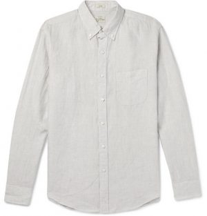 J.Crew - Slim-Fit Button-Down Collar Puppytooth Linen Shirt - Gray
