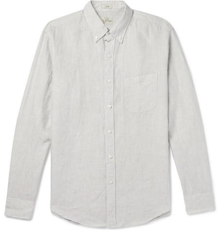 J.Crew - Slim-Fit Button-Down Collar Puppytooth Linen Shirt - Gray