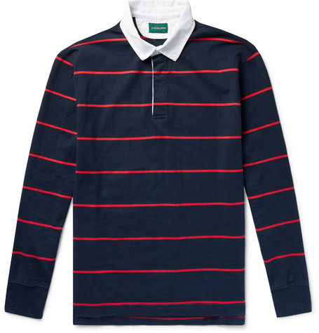 J.Crew - Twill-Trimmed Striped Cotton-Jersey Polo Shirt - Navy