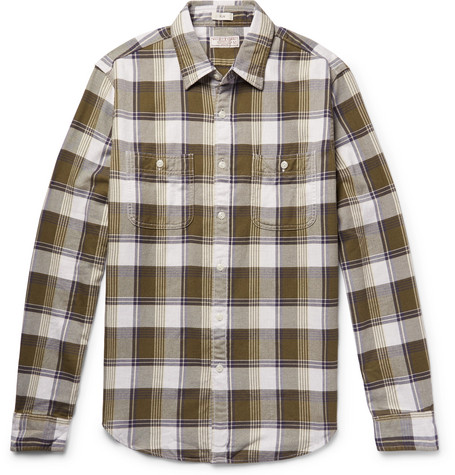 J.Crew - Wallace & Barnes Slim-Fit Checked Cotton-Flannel Shirt - Army green