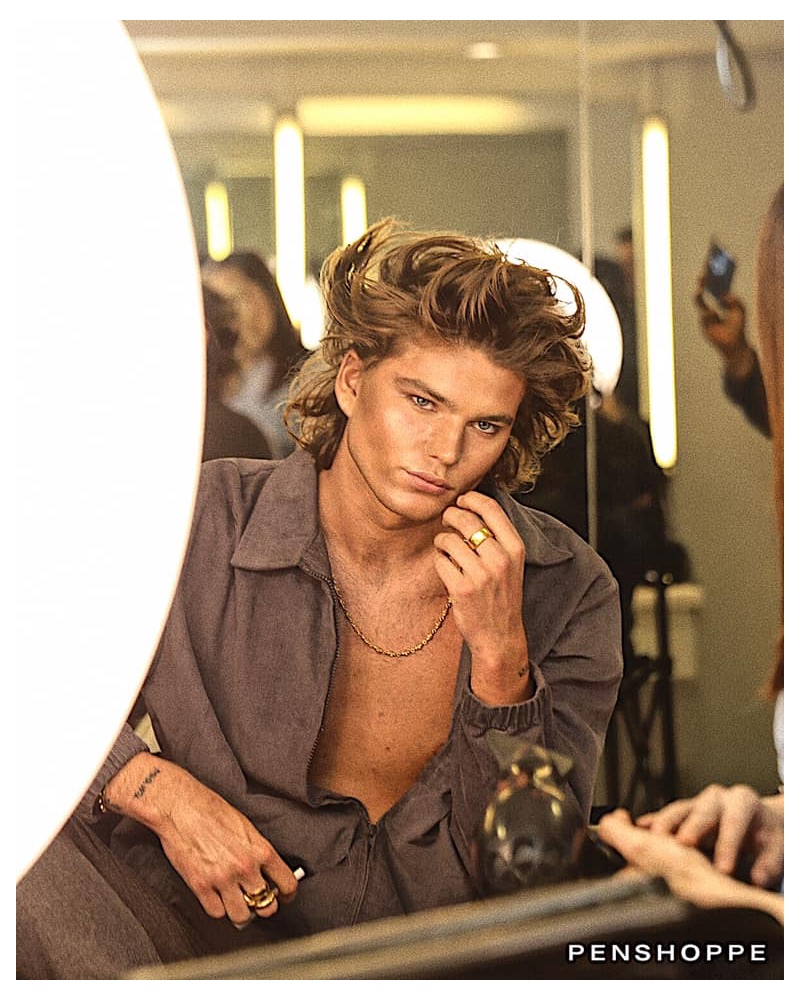 Behind the Scenes: Jordan Barrett prepares for Penshoppe's runway show.