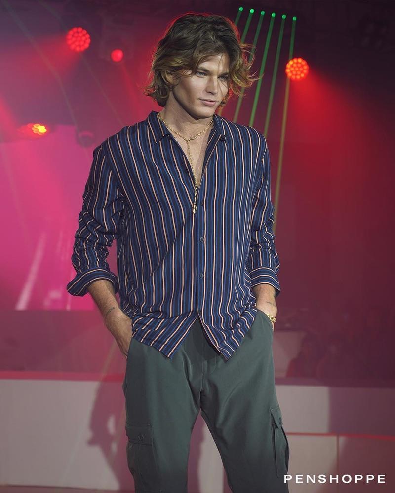 Australian model Jordan Barrett closes Penshoppe's runway show.