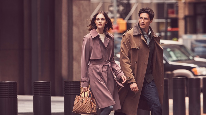Models Laura Love and Ryan Kennedy front London Fog's fall-winter 2018 campaign.