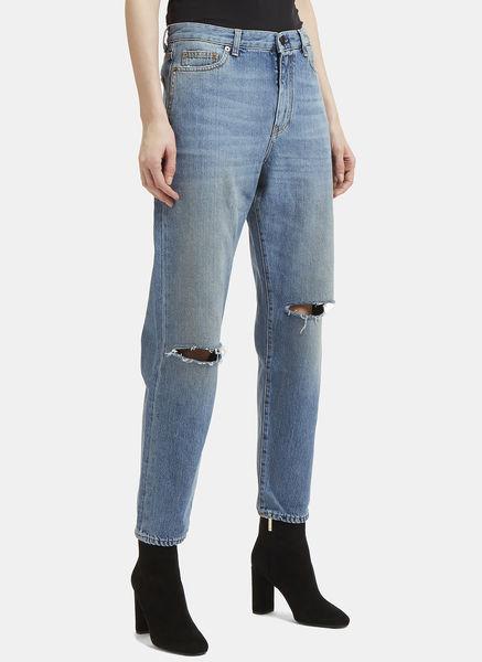 Loose Fit Slit Knee Jeans