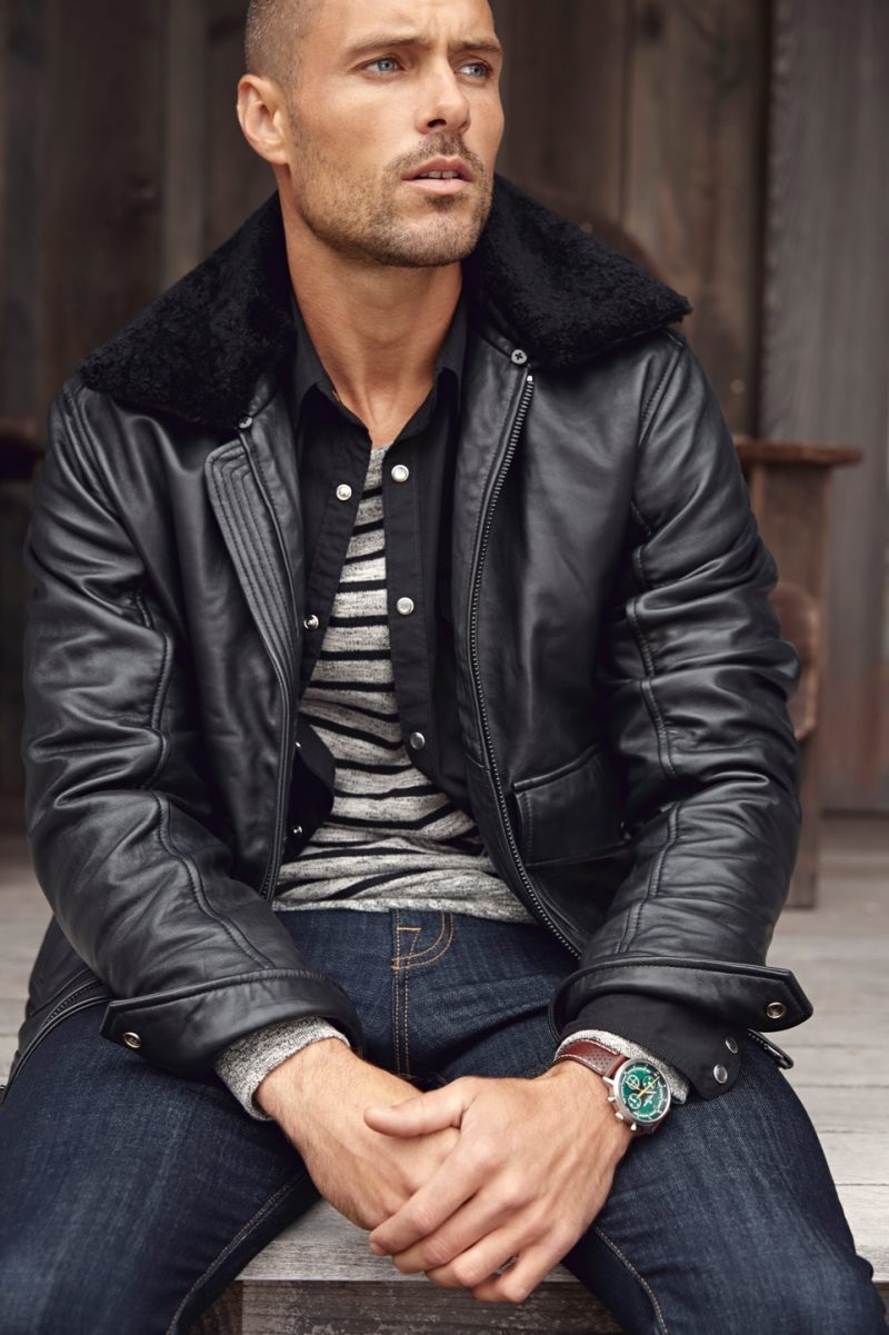 Sporting a leather jacket, Zac Taylor fronts Lucky Brand's holiday 2018 campaign.