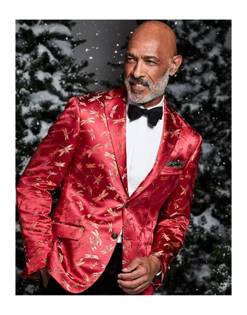 New Year's Eve: Dressed to impress, Lono Brazil dons a Tallia slim-fit red dragonfly jacquard dinner jacket.