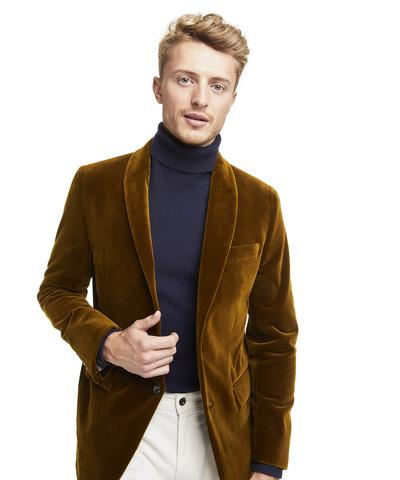 Made in USA Unconstructed Velvet Sport Coat in Autumn Mustard