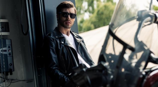Male Model Leather Biker Jacket