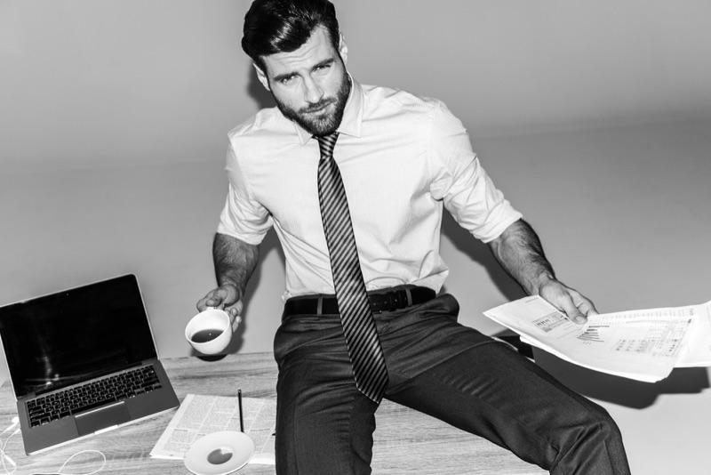 Stylish Man Shirt Tie Trousers Working