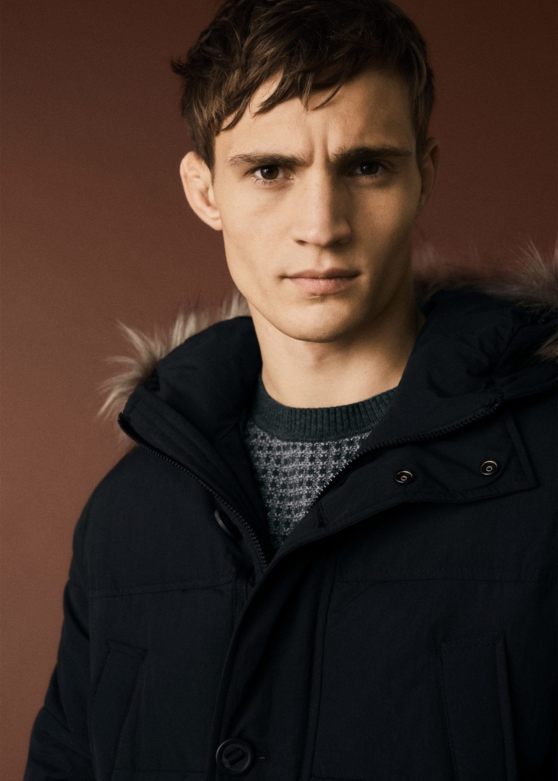 Mango Man taps Julian Schneyder to model its latest arrivals like the parka.