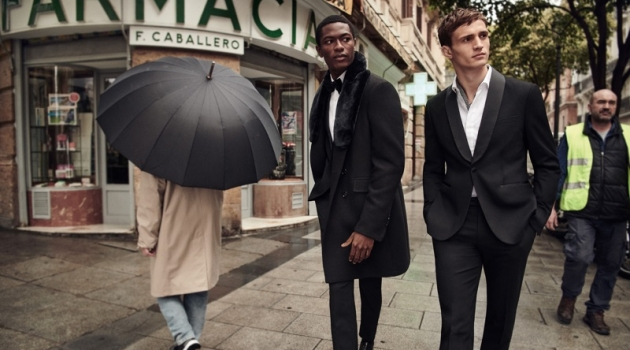 Models Hamid Onifade and Julian Schneyder star in Mango Man's holiday 2018 campaign.