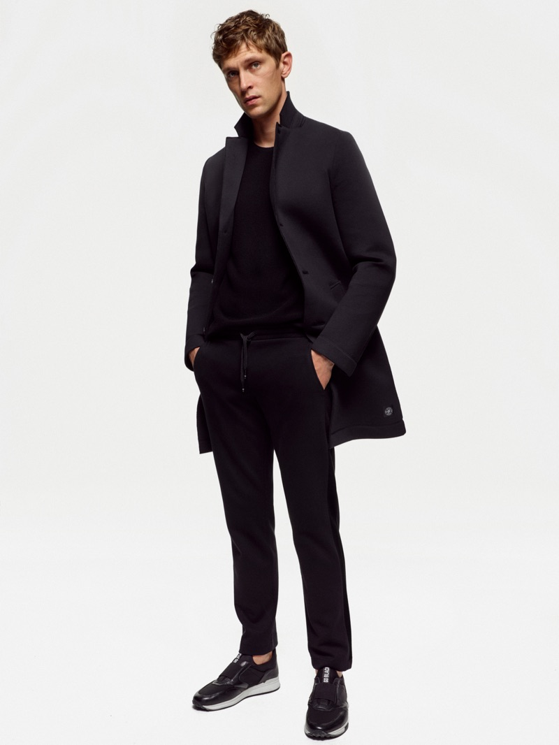 Mathias Lauridsen wears an all-black look from Marc O'Polo's Black Fashion Week capsule collection.