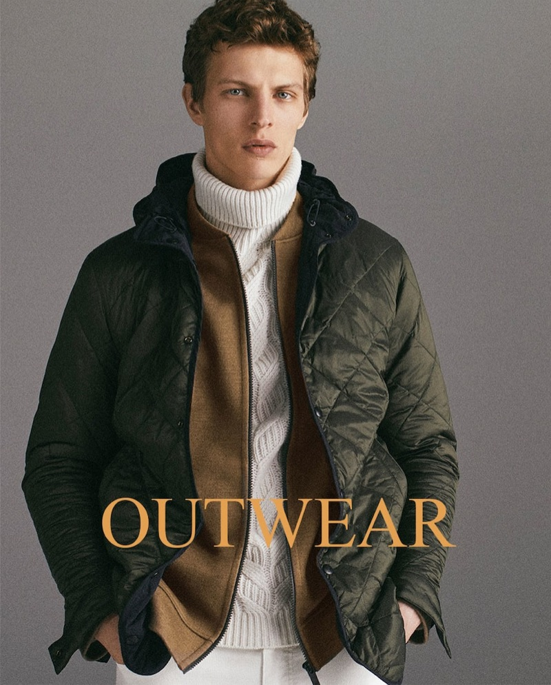 Tim Schuhmacher sports outerwear for Massimo Dutti's holiday 2018 gift guide.