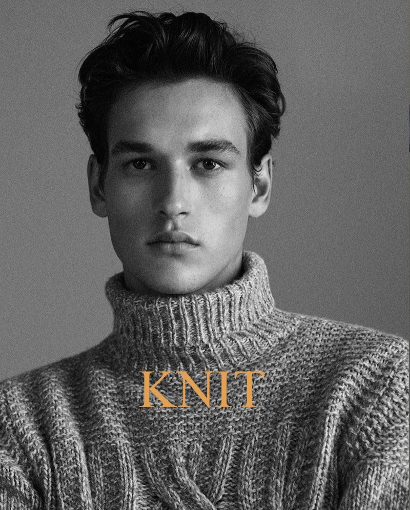 Jegor Venned dons a turtleneck sweater for Massimo Dutti's holiday 2018 gift guide.