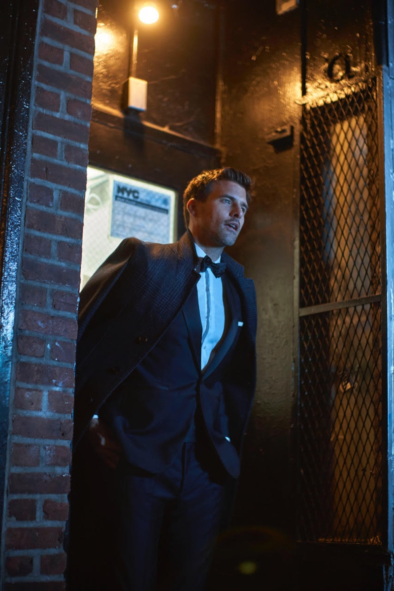 Going formal for the holidays, Johannes Huebl connects with Massimo Dutti.
